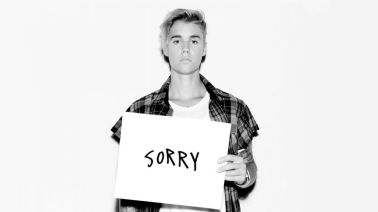 El artwork de Justin Bieber y su hit single, Sorry.